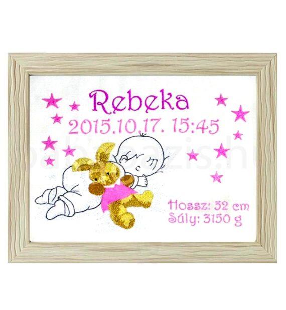 rebeka3 570x619 - Egyedi hímzett kép - babás, barna keretben
