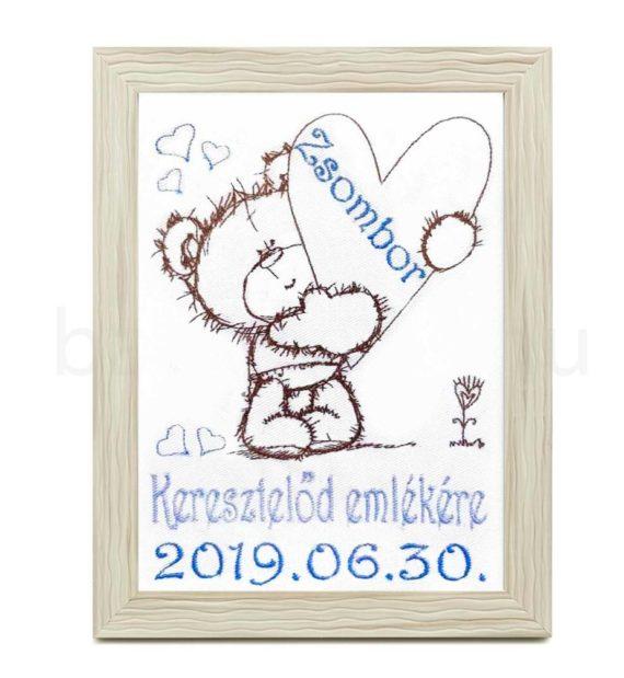 zsombor3 570x619 - Egyedi hímzett kép keresztelőre-macis-barna