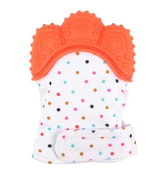 fogzaskesztyu pottyos narancs 570x619 - Fogzáskesztyű rágóka-pöttyös-narancs