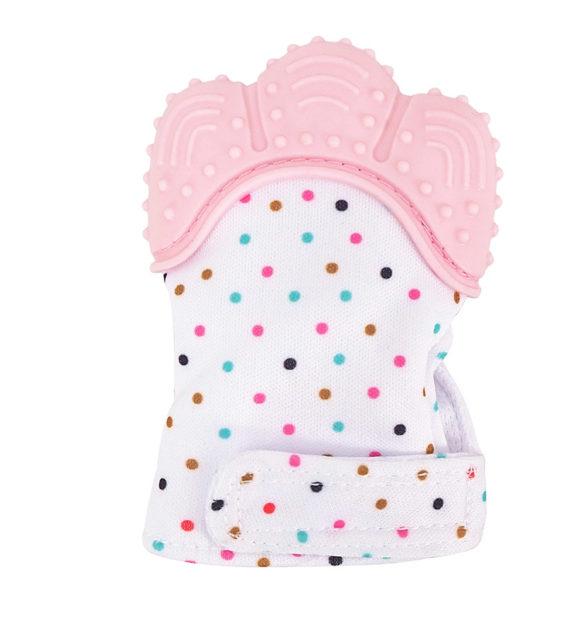 fogzaskesztyu pottyos rozsaszin 570x619 - Fogzáskesztyű rágóka-pöttyös-rózsaszín