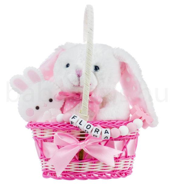 nyuszi ajandekcsomag 570x619 - Nyuszi ajándékkosár rágcsalánccal-rózsaszín