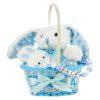 Nyuszi ajándékkosár rágcsalánccal-kék
