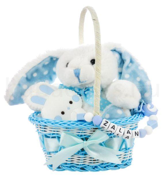 nyuszi ajandekcsomag kek 3 570x619 - Nyuszi ajándékkosár rágcsalánccal-kék