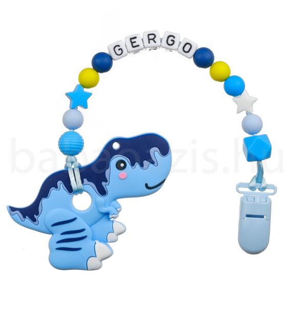 Szilikon rágcsalánc névvel-T-Rex-kék